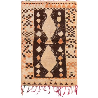 Contemporary Moroccan Geometric Berber Wool Pile Rug - 4′1″ × 6′5″ For Sale