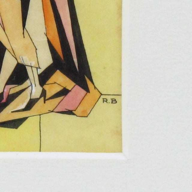 Art Deco Art Deco Signed Colored Pencil on Tracing Paper Cubist Illustration Drawing For Sale - Image 3 of 7
