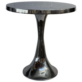 Polished Aluminum Side Table For Sale