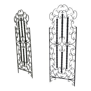 Vintage 1960s European Wrought Iron Gates French - a Pair For Sale