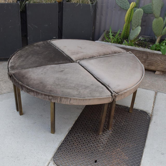 1950s Mid-Century Modern Round Bench Stool Pizza Shape in Bronze and Velvet For Sale - Image 5 of 11