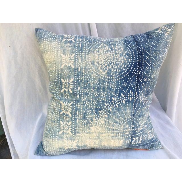 Bleached-Out Indigo Batik Pillow - Image 3 of 10