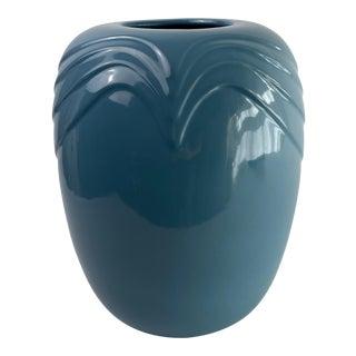 1980s Vintage McCoy Bijou Light Blue Large Ceramic Vase For Sale