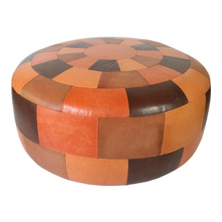 Oversized Vintage Patchwork Leather Ottoman For Sale