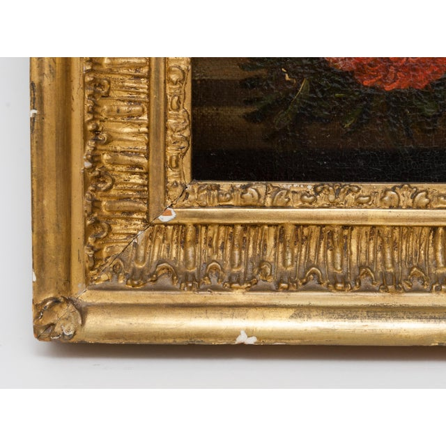 Realism 19th Century Floral Still Life Oil Painting in Gold Frame For Sale - Image 3 of 9
