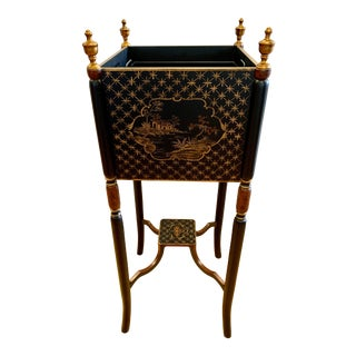 Chinoiserie Black and Gold Planter For Sale