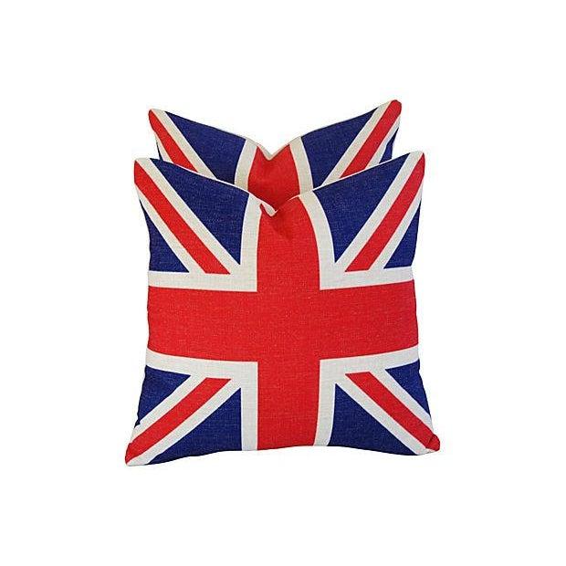 British Union Jack Linen Pillows - A Pair - Image 3 of 7