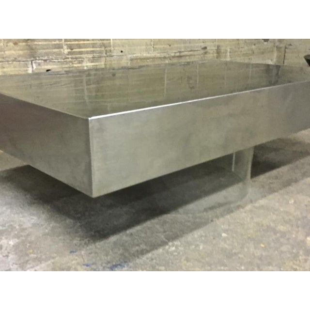 Pure Design Brushed Steel Table With Lucite Lightening Base For Sale - Image 4 of 6