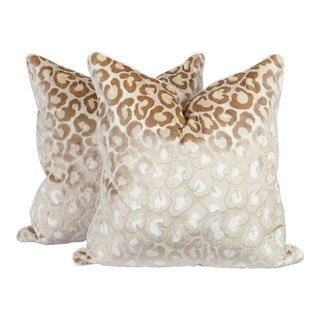 Cream Cut-Velvet Leopard Pillows, a Pair For Sale