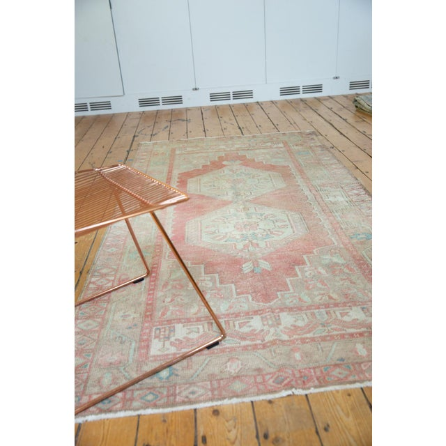 """Old New House Vintage Distressed Oushak Rug Runner - 4'3"""" X 8'4"""" For Sale - Image 4 of 13"""