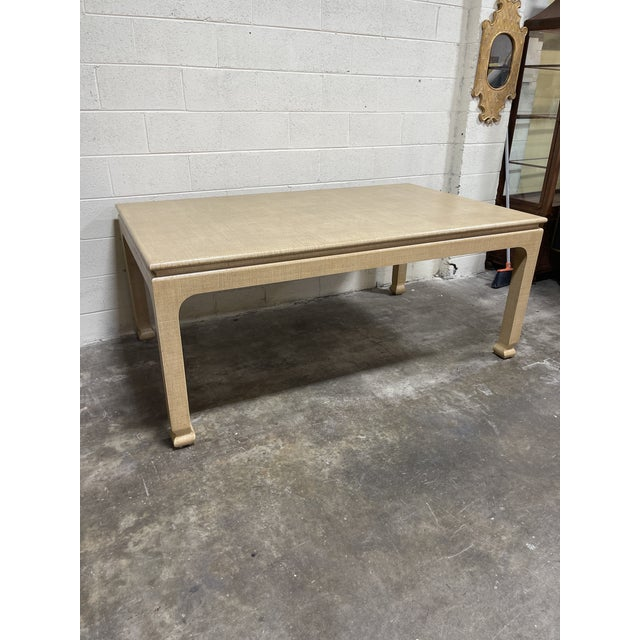 Tan Harrison Van Horn Grass Cloth Dining Table For Sale - Image 8 of 8