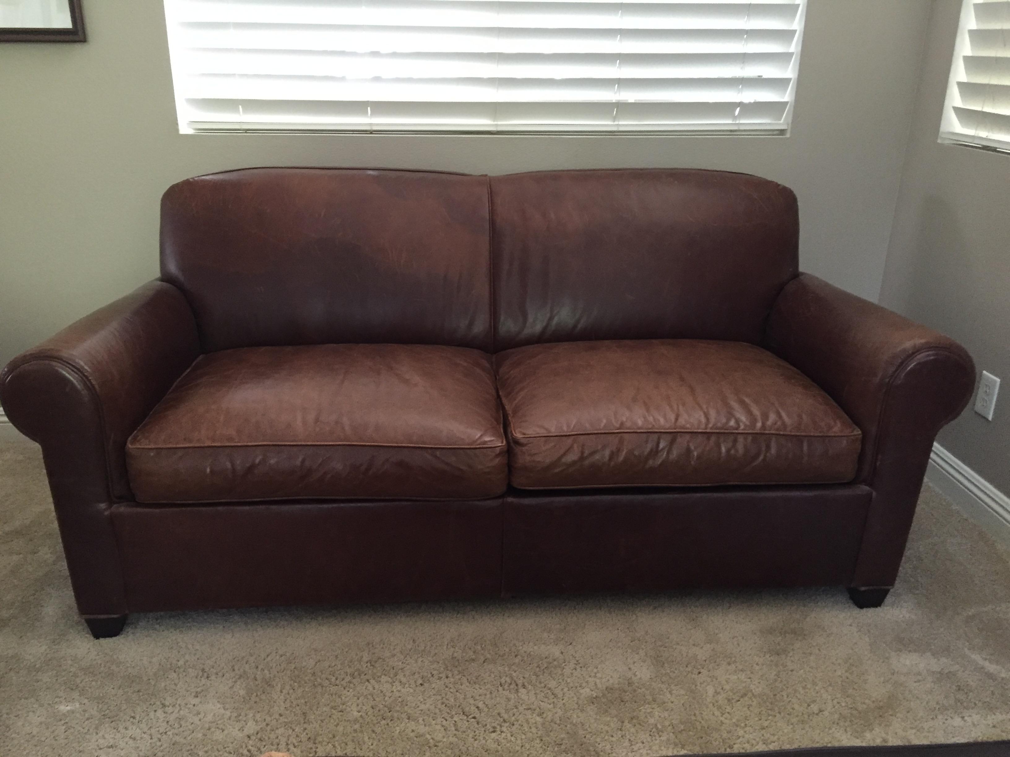 Crate Barrel Leather Club Sleeper Sofa Chairish