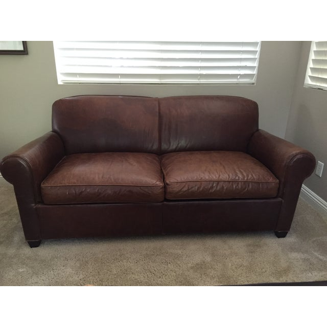 Crate & Barrel Leather Club Sleeper Sofa - Image 2 of 10