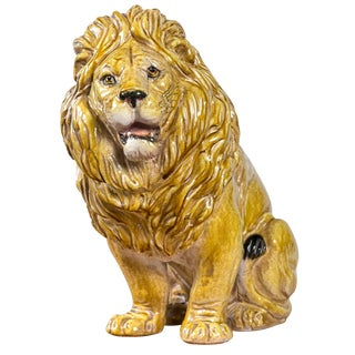 Glazed Terra Cotta Lion For Sale