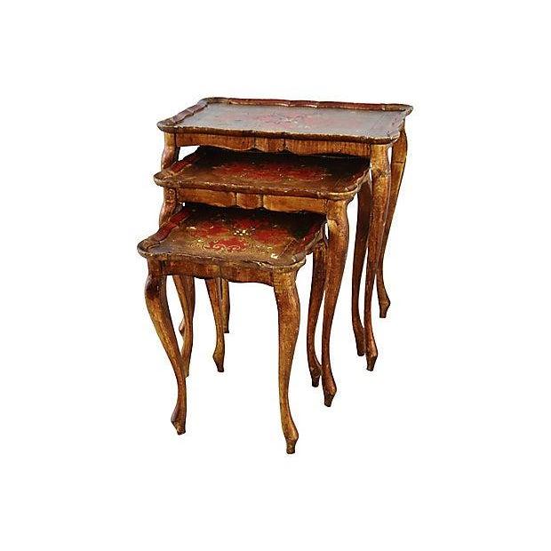 """Set of three 1950s Florentine nesting tables. Small, 13.25""""L x 13.25""""W x 17.35""""H; medium, 17.5""""L x 13""""W x 20.25""""H; large,..."""