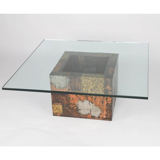 PAUL EVANS PEWTER, BRASS AND COPPER PATCHWORK COCKTAIL TABLE, CIRCA 1970S - Image 2 of 7