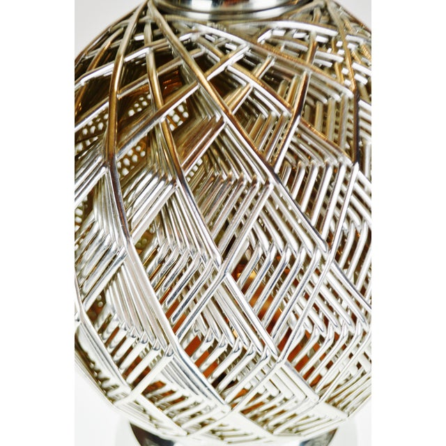 Vintage Brutalist Style Woven Metal Look Table Lamp For Sale In Philadelphia - Image 6 of 13