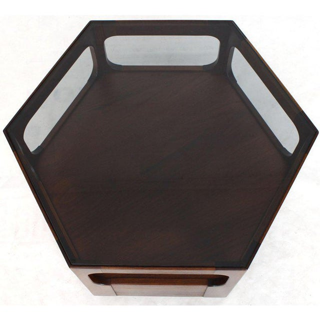 1970s Solid Oiled Walnut Fitted Smoked Glass Top Hexagon Center Side End Table For Sale - Image 5 of 8