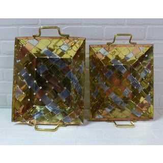 1970s Vintage Paul Evans Style Metal Weave Stacking Baskets - a Pair Preview