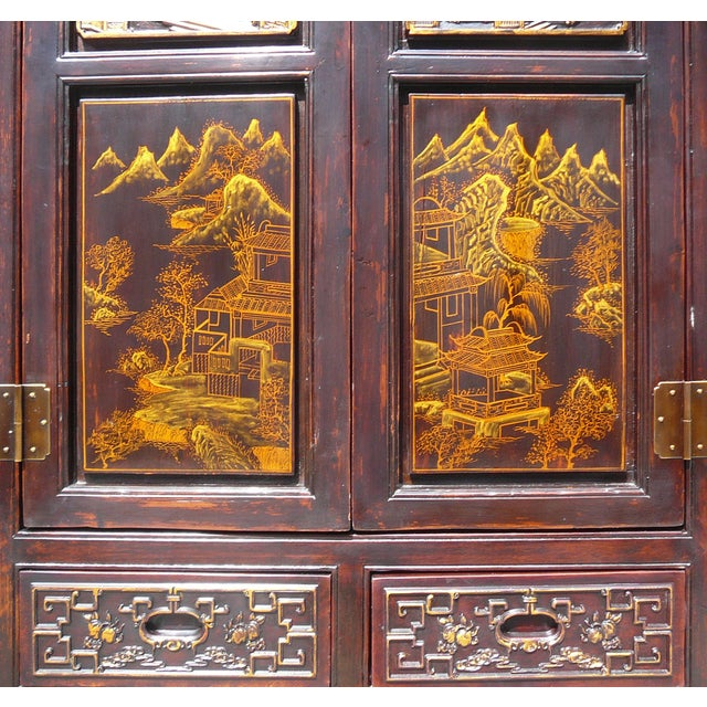 Hand Made Chinese Wood Carved Armoire - Image 5 of 6