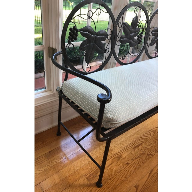Hickory Furniture 1990s Maitland-Smith Style Heavy Iron Bench For Sale - Image 4 of 9