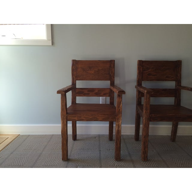 African Style Carved Wooden Chairs - A Pair - Image 10 of 11