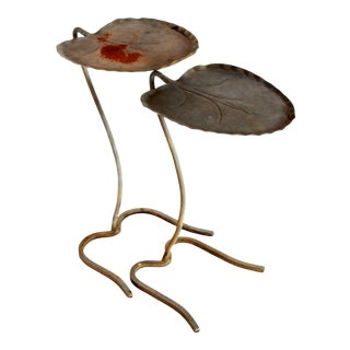 Mid Century Modern Salterini Lilypad Wrought Iron Nesting Tables - a Pair For Sale