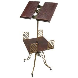 Antique Adjustable Bookstand With Iron Base and Bookshelf For Sale