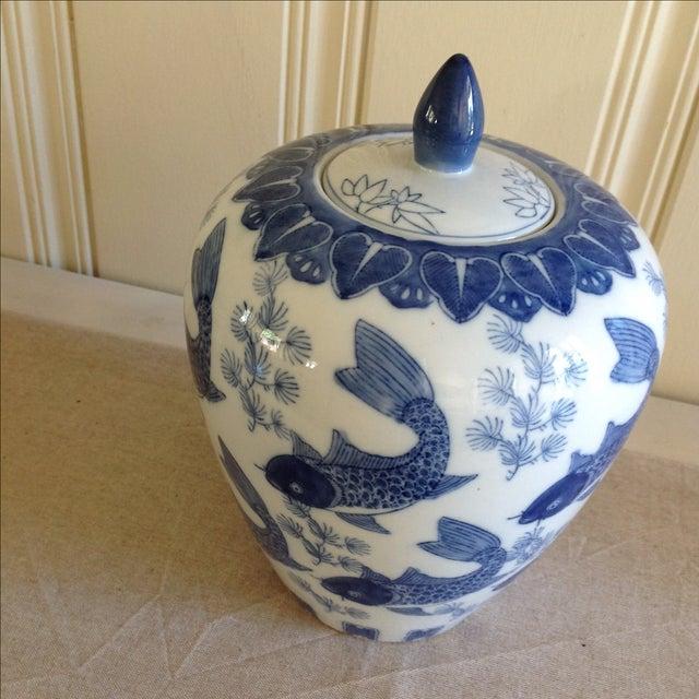 Asian Koi Fish Ginger Jar For Sale - Image 4 of 9