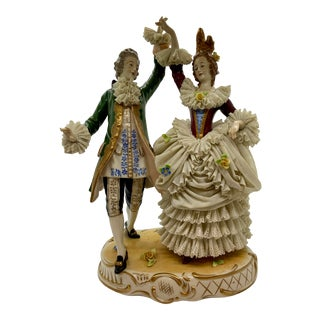 Late 19th Century Porcelain Figurine of Man and Lady Dancing For Sale