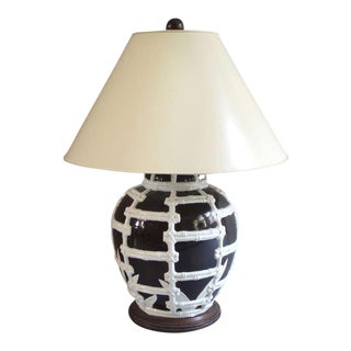 Bamboo Embellished Table Lamp For Sale