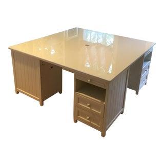 White Beadboard Desk/Workstation/Partners Desk For Sale