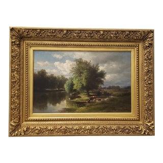 Hendrik-Dirk Kruseman Van Elten (1829-1904) Landscape With Cattle C.1890s For Sale