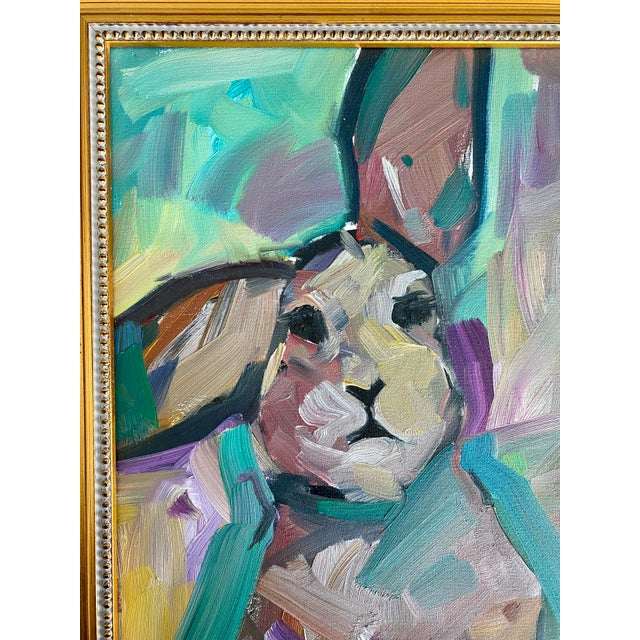 "Original oil on canvas painting of ""The Bunny"" by American artist Jose Trujillo. Signed by the artist to the lower left..."