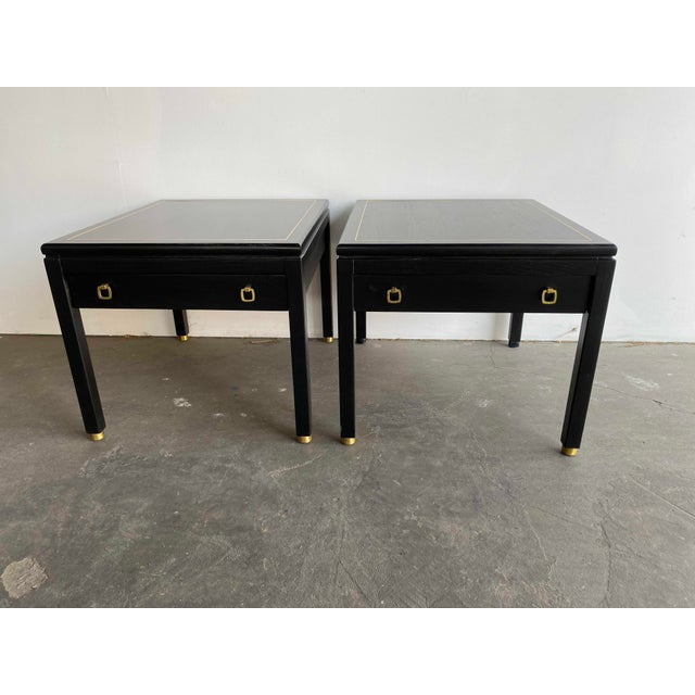 American of Martinsville MCM Ebony Side Tables With Brass Inlays and Pulls For Sale - Image 13 of 13