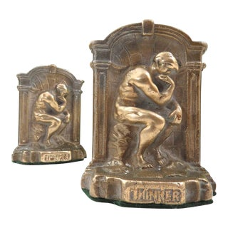 Vintage Pair of Brass Bookends - The Thinker
