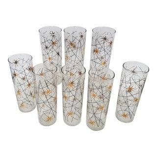 1950s Starburst Highball Glasses - Set of 8 For Sale