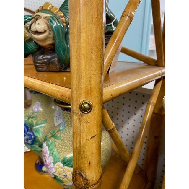 Mid-Century Modern Bamboo Etagere For Sale - Image 4 of 5