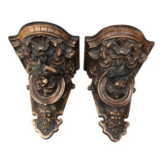 Early 20th Century Vintage Italian Architectural Corbel Wall Shelves - a Pair For Sale