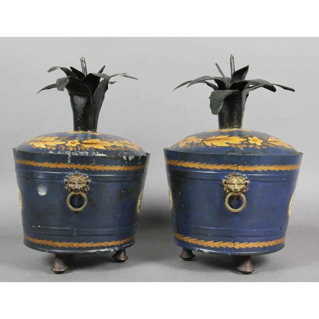 Metal Pair of Swedish Tole Peinte Covered Barrels For Sale - Image 7 of 12
