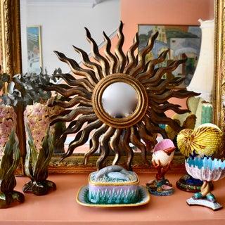 French Hollywood Regency Era Giltwood Sunburst Convex Wall Mirror Preview