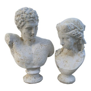 Large Hermes & Venus Concrete Busts - Set of 2 For Sale