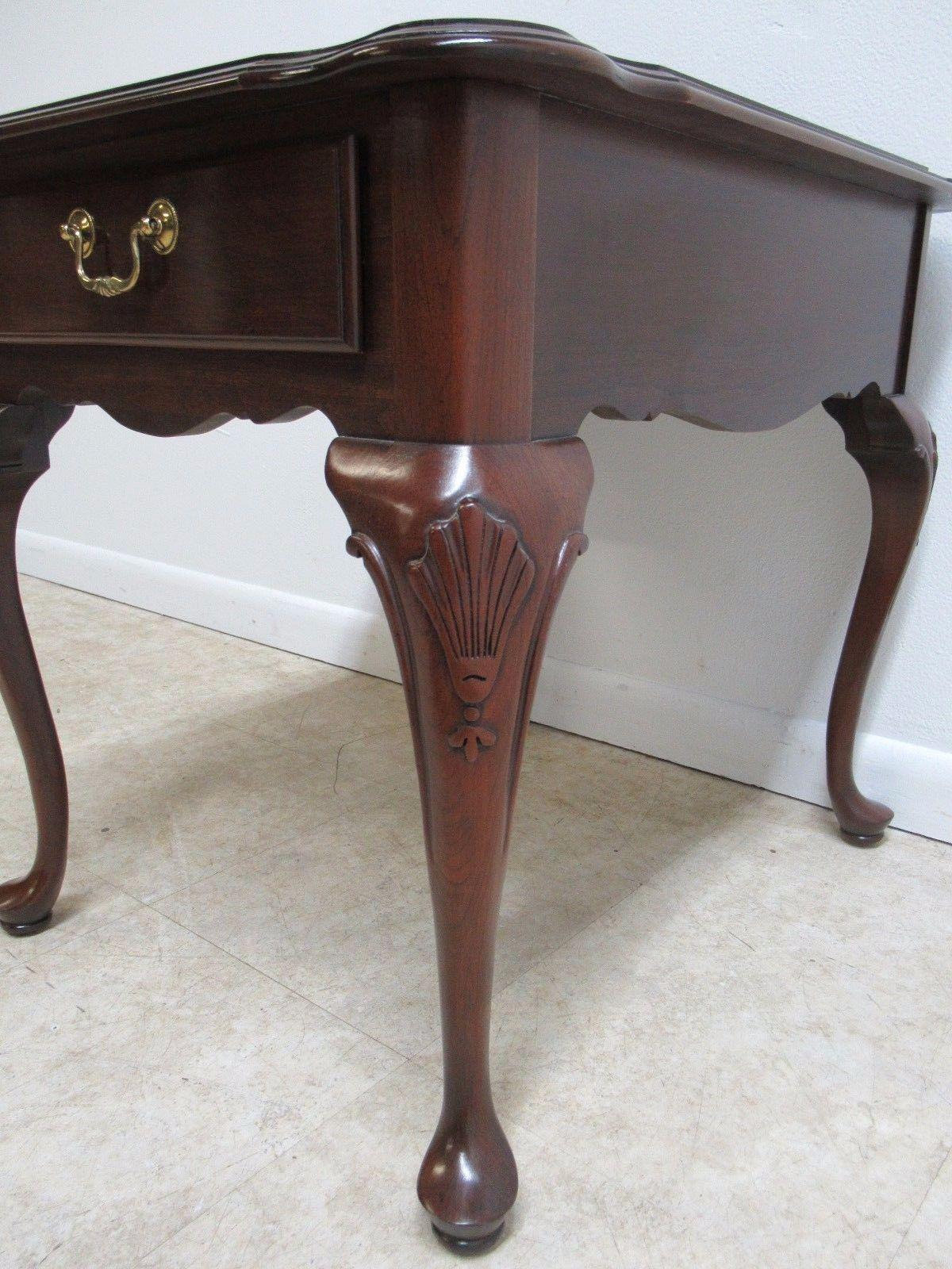 Ethan Allen Georgian Court Queen Anne One Drawer Lamp End Table   Image 7  Of 8