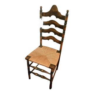 Vintage 4 Slat Arched Ladderback Chair With Duel Spindles For Sale