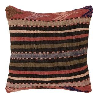 "Neutral Stripe Kilim Pillow | 16"" For Sale"