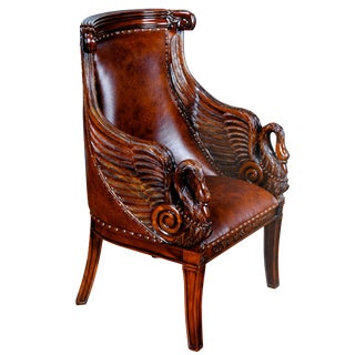 21st Century Leather Swan Arm Chair For Sale