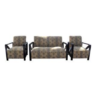 Modern Art Deco Sofa & Club Chairs - Set of 3