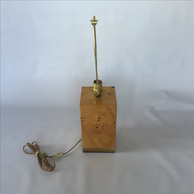 Burl & Brass Lamp in the Style of Milo Baughman - Image 6 of 6