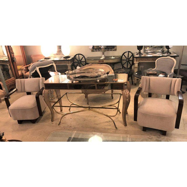 Pair of Modern Art Deco Rosewood Club Bergère or Lounge Chairs For Sale - Image 11 of 13