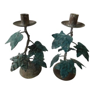 Aqua and Gray Metal Leaf Candle Holders - A Pair
